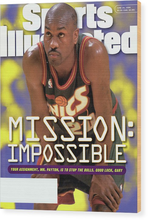 Playoffs Wood Print featuring the photograph Seattle Supersonics Gary Payton, 1996 Nba Western Sports Illustrated Cover by Sports Illustrated