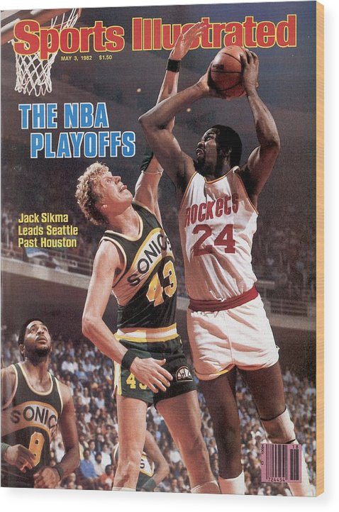 Playoffs Wood Print featuring the photograph Seattle Supersonics Jack Sikma, 1982 Nba Western Conference Sports Illustrated Cover by Sports Illustrated