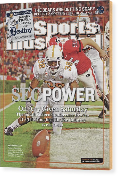 Magazine Cover Wood Print featuring the photograph Sec Power On Any Given Saturday The Southeastern Conference Sports Illustrated Cover by Sports Illustrated