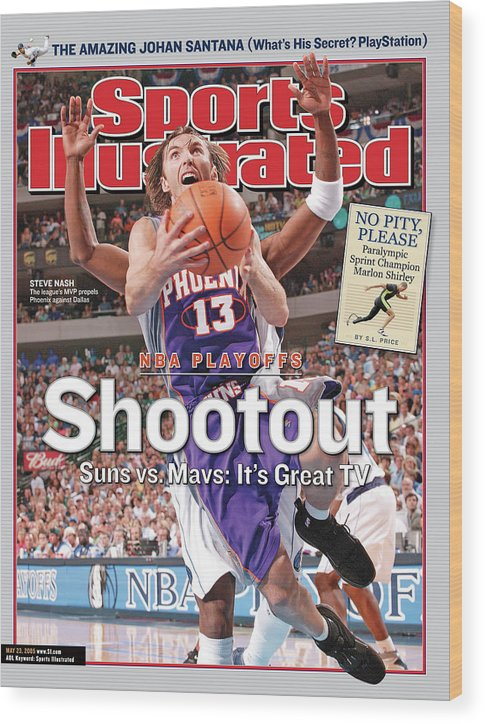 Jason Terry Wood Print featuring the photograph Shootout Nba Playoffs, Suns Vs. Mavs Its Great Tv Sports Illustrated Cover by Sports Illustrated