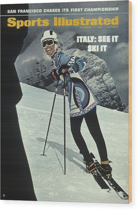 Magazine Cover Wood Print featuring the photograph Skiing In Italy Sports Illustrated Cover by Sports Illustrated