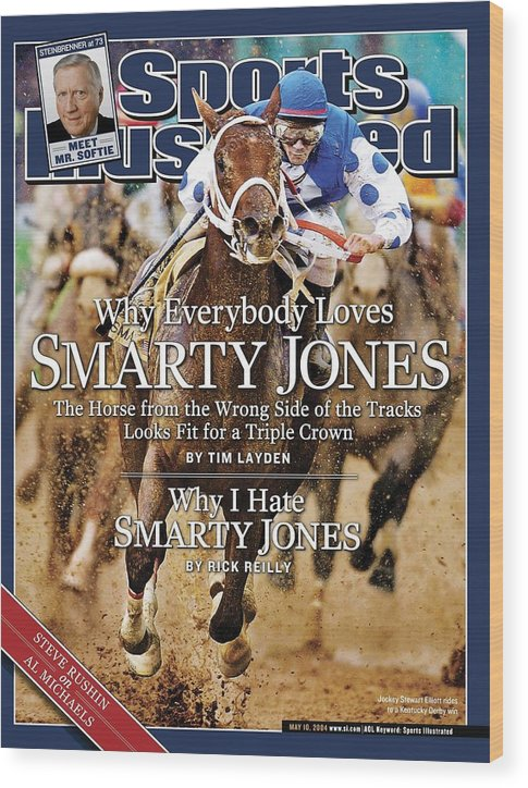 Horse Wood Print featuring the photograph Smarty Jones, 2004 Kentucky Derby Sports Illustrated Cover by Sports Illustrated