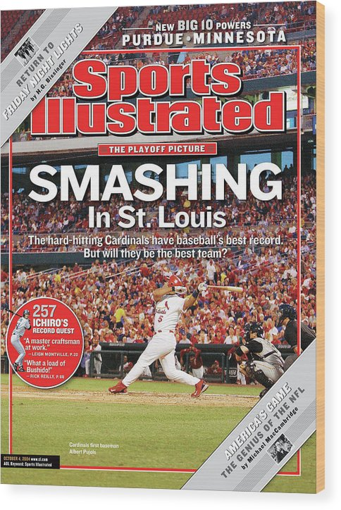 St. Louis Cardinals Wood Print featuring the photograph Smashing In St. Louis Sports Illustrated Cover by Sports Illustrated