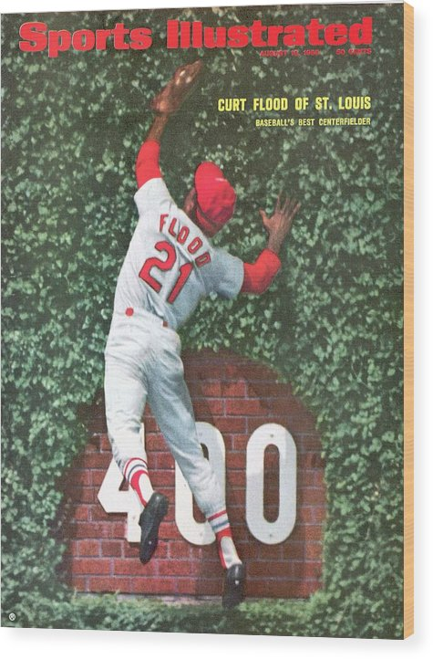 St. Louis Cardinals Wood Print featuring the photograph St. Louis Cardinals Curt Flood Sports Illustrated Cover by Sports Illustrated