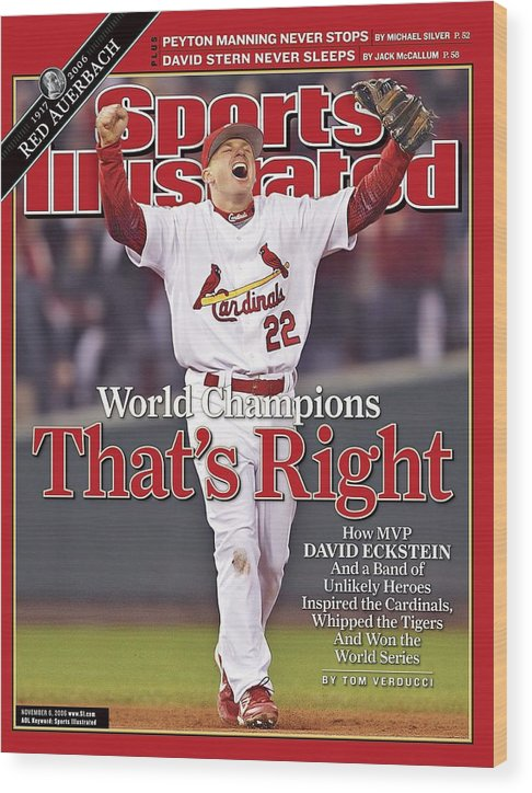 St. Louis Cardinals Wood Print featuring the photograph St. Louis Cardinals David Eckstein, 2006 World Series Sports Illustrated Cover by Sports Illustrated