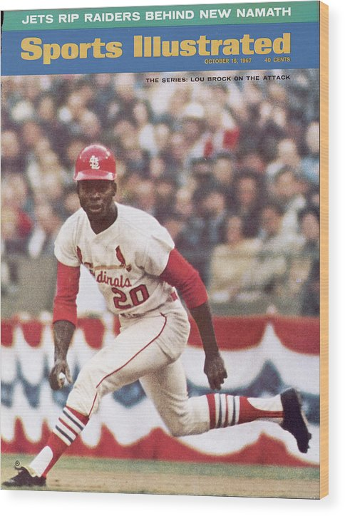 St. Louis Cardinals Wood Print featuring the photograph St. Louis Cardinals Lou Brock, 1967 World Series Sports Illustrated Cover by Sports Illustrated