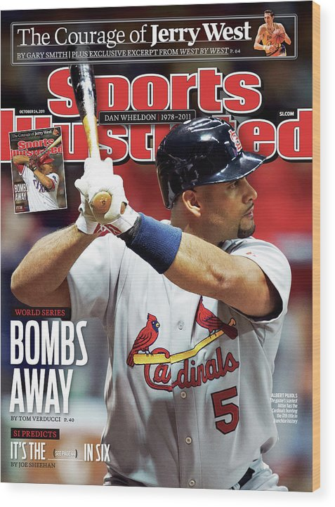 St. Louis Cardinals Wood Print featuring the photograph St Louis Cardinals V Milwaukee Brewers - Game 6 Sports Illustrated Cover by Sports Illustrated