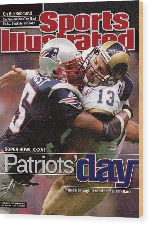 New England Patriots Wood Print featuring the photograph St. Louis Rams Qb Kurt Warner, Super Bowl Xxxvi Sports Illustrated Cover by Sports Illustrated