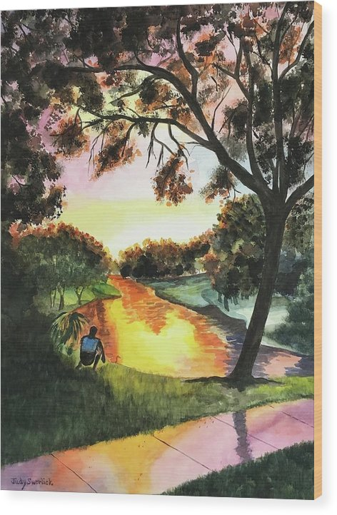Sunset Wood Print featuring the painting Sunset After the Rain by Judy Swerlick