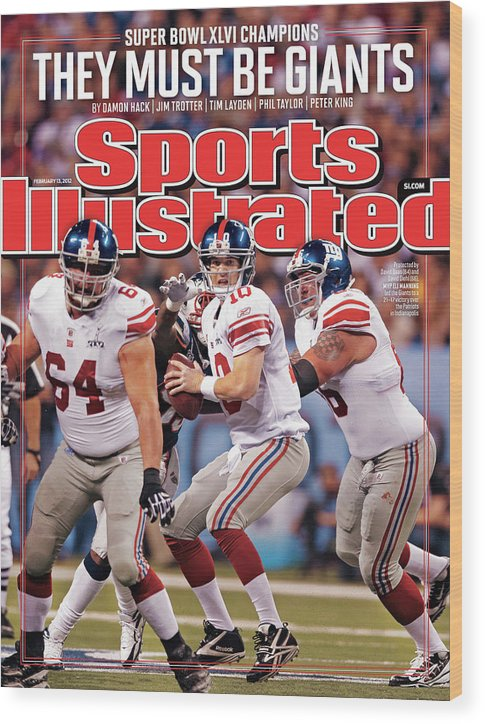 Magazine Cover Wood Print featuring the photograph Super Bowl Xlvi... Sports Illustrated Cover by Sports Illustrated