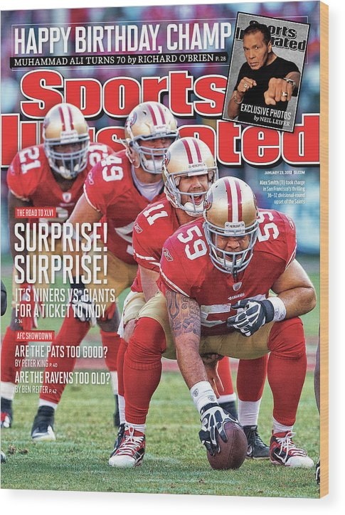 Candlestick Park Wood Print featuring the photograph Suprise! Suprise! It's Niners Vs. Giants For A Ticket To Indy by Sports Illustrated Cover