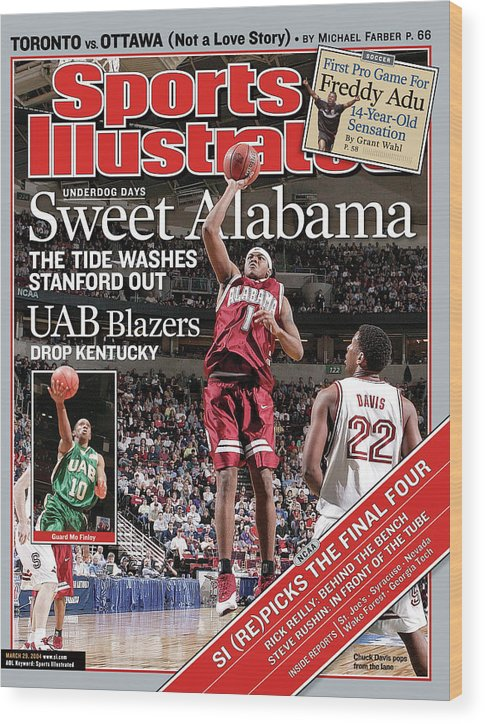 Magazine Cover Wood Print featuring the photograph Sweet Alabama The Tide Washes Stanford Out Sports Illustrated Cover by Sports Illustrated