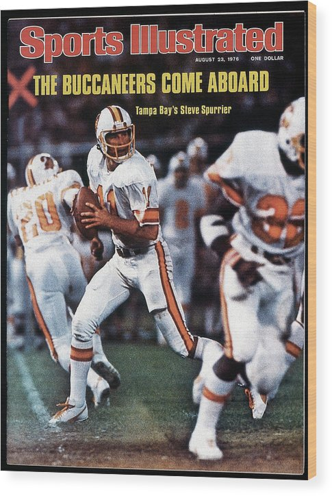 Magazine Cover Wood Print featuring the photograph Tampa Bay Buccaneers Qb Steve Spurrier... Sports Illustrated Cover by Sports Illustrated