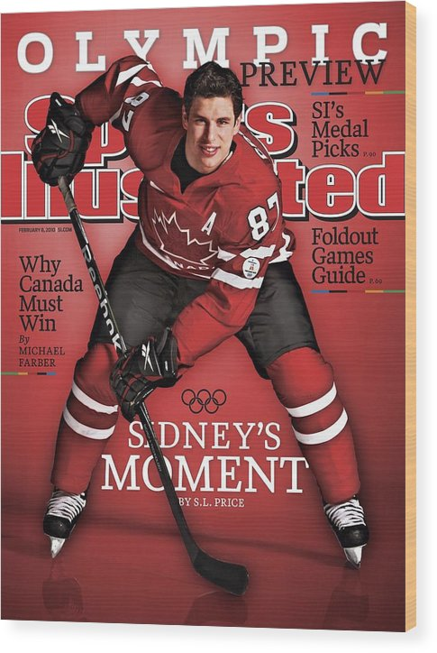 The Olympic Games Wood Print featuring the photograph Team Canada Sidney Crosby, 2010 Vancouver Olympic Games Sports Illustrated Cover by Sports Illustrated