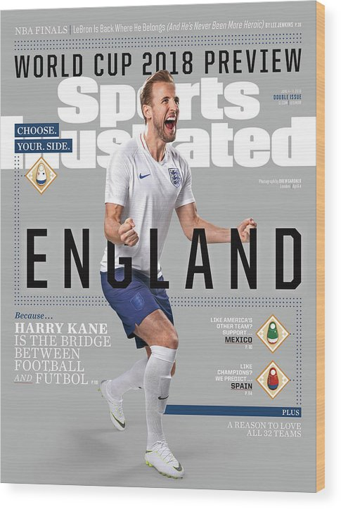 Magazine Cover Wood Print featuring the photograph Team England Harry Kane, World Cup 2018 Preview Sports Illustrated Cover by Sports Illustrated