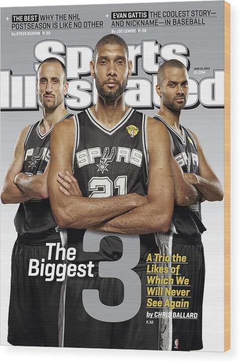 Magazine Cover Wood Print featuring the photograph The Biggest 3 Sports Illustrated Cover by Sports Illustrated