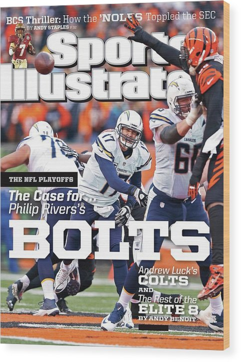 Magazine Cover Wood Print featuring the photograph The Nfl Playoffs The Case For . . . Philip Rivers Bolts Sports Illustrated Cover by Sports Illustrated