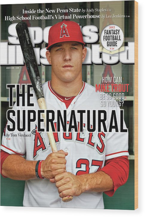 Magazine Cover Wood Print featuring the photograph The Supernatural How Can Mike Trout Be So Good So Young Sports Illustrated Cover by Sports Illustrated