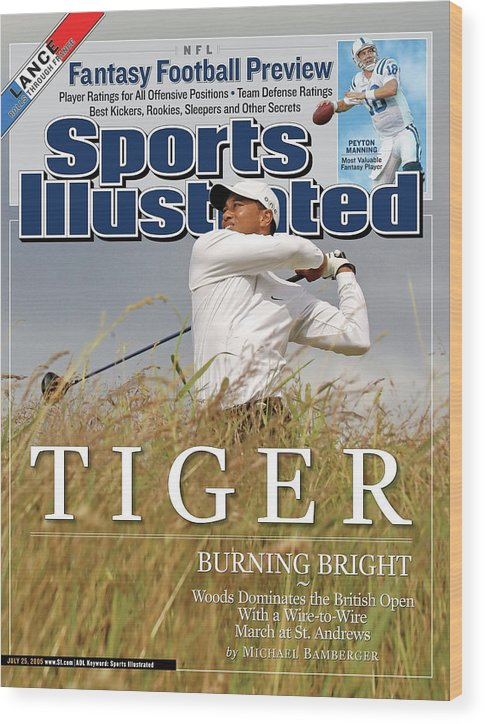 Magazine Cover Wood Print featuring the photograph Tiger Burning Bright Woods Dominates The British Open With Sports Illustrated Cover by Sports Illustrated