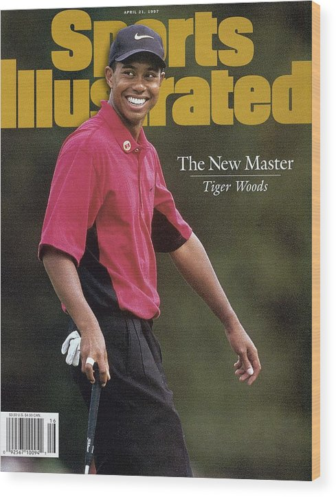 Magazine Cover Wood Print featuring the photograph Tiger Woods, 1997 Masters Sports Illustrated Cover by Sports Illustrated