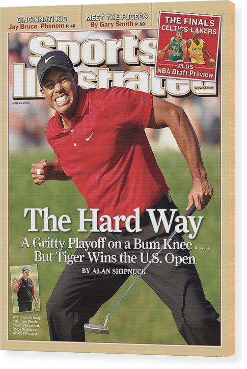Magazine Cover Wood Print featuring the photograph Tiger Woods, 2008 Us Open Sports Illustrated Cover by Sports Illustrated