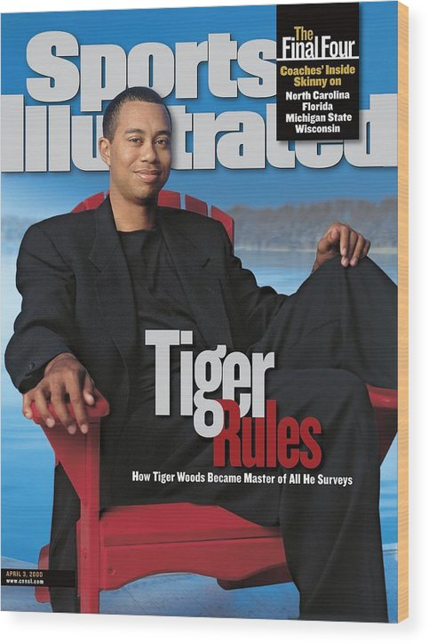 Magazine Cover Wood Print featuring the photograph Tiger Woods, Golf Sports Illustrated Cover by Sports Illustrated