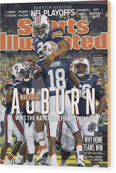 Magazine Cover Wood Print featuring the photograph Tostitos Bcs National Championship Game - Oregon V Auburn Sports Illustrated Cover by Sports Illustrated