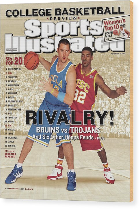 Season Wood Print featuring the photograph Ucla Kevin Love And Usc O.j. Mayo, 2007 College Basketball Sports Illustrated Cover by Sports Illustrated