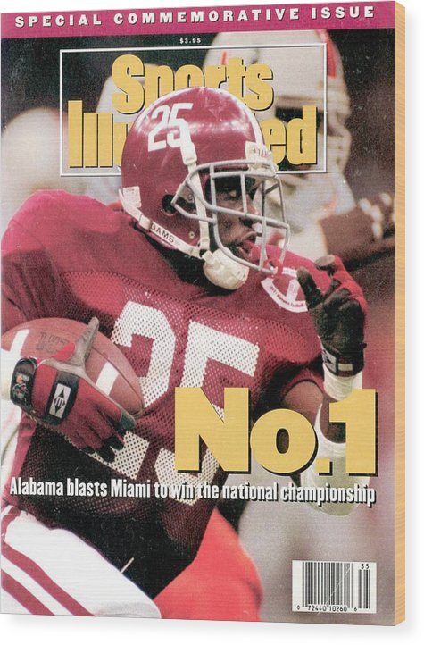 Magazine Cover Wood Print featuring the photograph University Of Alabama Derrick Lassic, 1993 Usf&g Financial Sports Illustrated Cover by Sports Illustrated