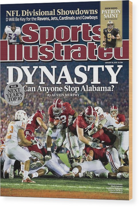 Rose Bowl Stadium Wood Print featuring the photograph University Of Alabama Mark Ingram, 2010 Citi Bcs National Sports Illustrated Cover by Sports Illustrated