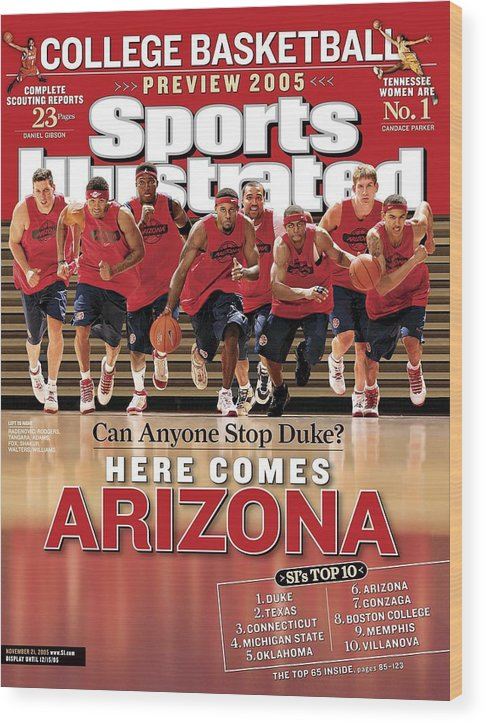 Mustafa Shakur Wood Print featuring the photograph University Of Arizona Basketball Team Sports Illustrated Cover by Sports Illustrated