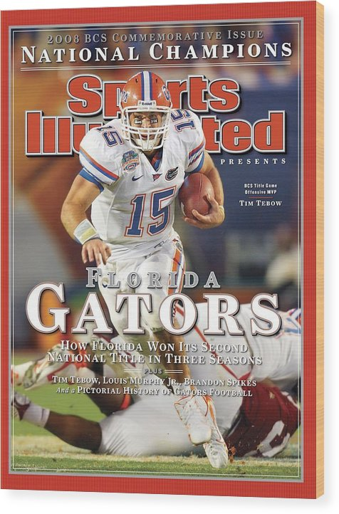 Hard Rock Stadium Wood Print featuring the photograph University Of Florida Florida Qb Tim Tebow, 2009 Fedex Bcs Sports Illustrated Cover by Sports Illustrated