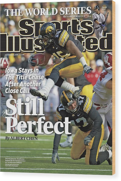 Magazine Cover Wood Print featuring the photograph University Of Iowa Derrell Johnson-koulianos Sports Illustrated Cover by Sports Illustrated