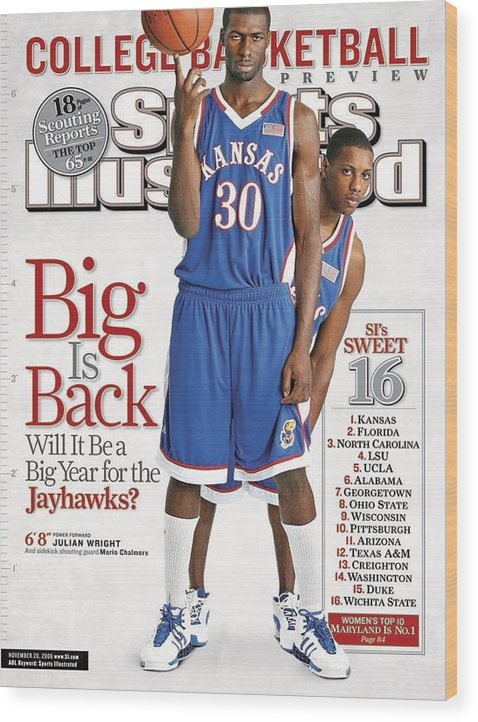 Magazine Cover Wood Print featuring the photograph University Of Kansas Julian Wright And Mario Chalmers Sports Illustrated Cover by Sports Illustrated