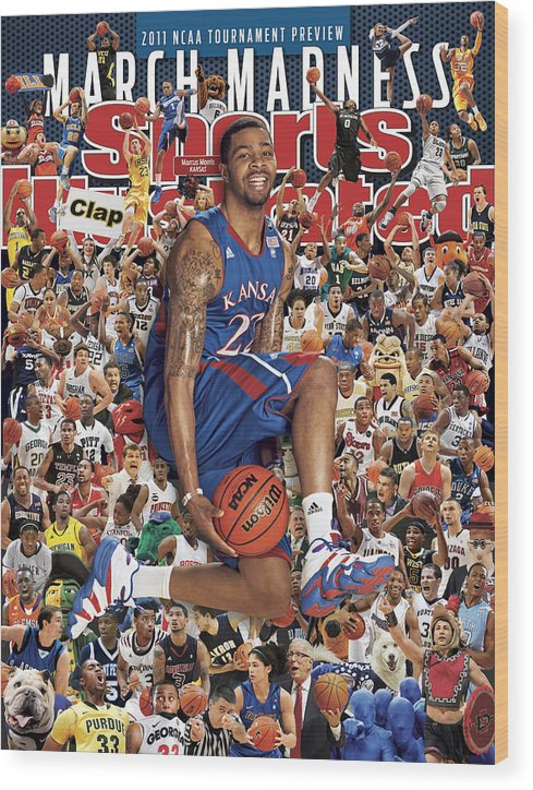 Magazine Cover Wood Print featuring the photograph University Of Kansas Marcus Morris, 2011 March Madness Sports Illustrated Cover by Sports Illustrated