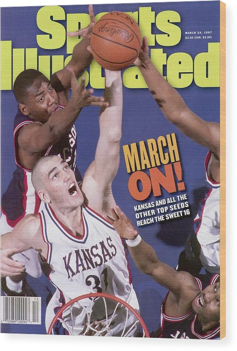 Playoffs Wood Print featuring the photograph University Of Kansas Scot Pollard, 1997 Ncaa Southeast Sports Illustrated Cover by Sports Illustrated