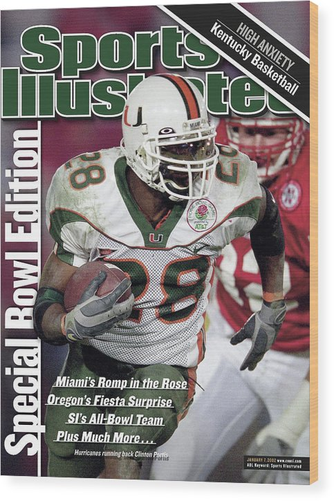 Magazine Cover Wood Print featuring the photograph University Of Miami Clinton Portis, 2002 Rose Bowl Sports Illustrated Cover by Sports Illustrated