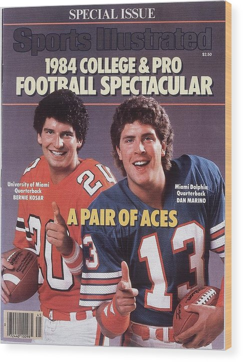 1980-1989 Wood Print featuring the photograph University Of Miami Qb Bernie Kosar And Miami Dolphins Qb Sports Illustrated Cover by Sports Illustrated