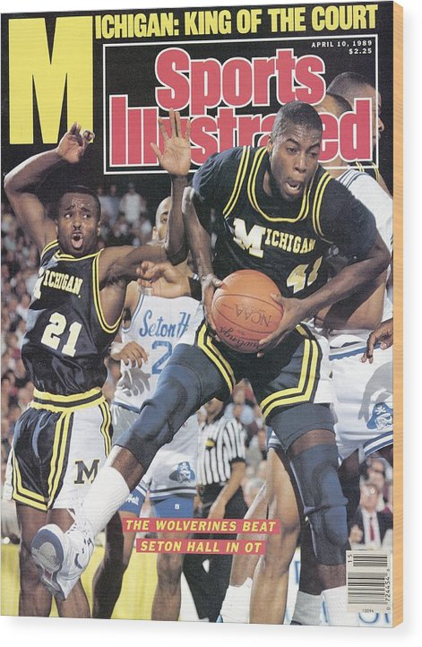 Glen Rice Wood Print featuring the photograph University Of Michigan Glen Rice, 1989 Ncaa National Sports Illustrated Cover by Sports Illustrated