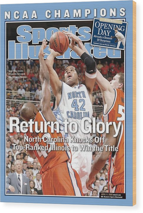 Roger Powell Jr. Wood Print featuring the photograph University Of North Carolina Sean May, 2005 Ncaa National Sports Illustrated Cover by Sports Illustrated