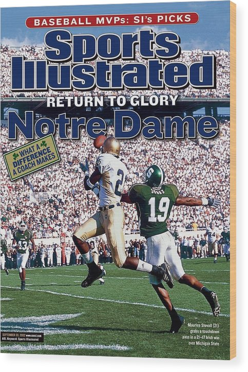 Michigan State University Wood Print featuring the photograph University Of Notre Dame Maurice Stovall Sports Illustrated Cover by Sports Illustrated