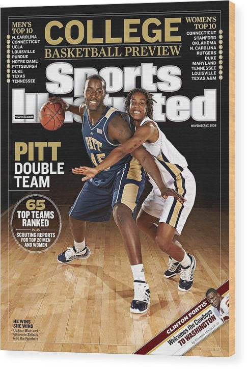 Event Wood Print featuring the photograph University Of Pittsburgh Dejuan Blair And Shavonte Zellous Sports Illustrated Cover by Sports Illustrated