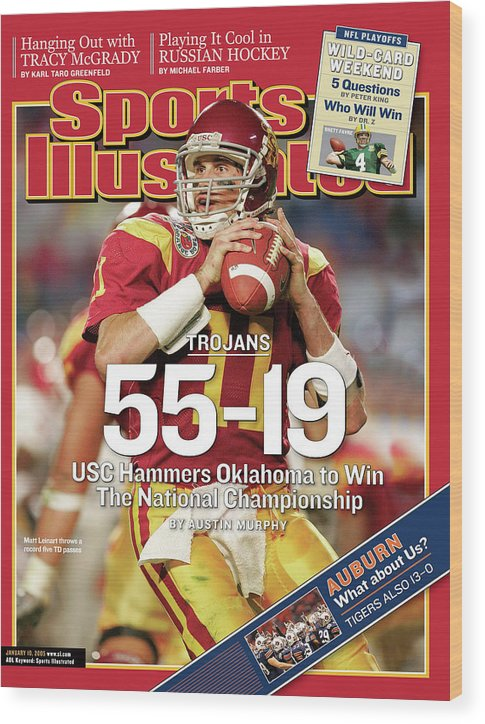 Miami Gardens Wood Print featuring the photograph University Of Southern California 2004 Bcs National Sports Illustrated Cover by Sports Illustrated