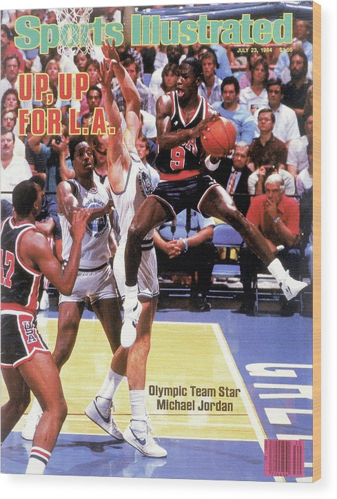 Magazine Cover Wood Print featuring the photograph Up, Up For La 1984 Los Angeles Olympic Games Preview Issue Sports Illustrated Cover by Sports Illustrated
