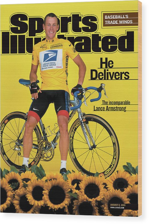 Magazine Cover Wood Print featuring the photograph Us Postal Service Lance Armstrong, 2001 Tour De France Sports Illustrated Cover by Sports Illustrated