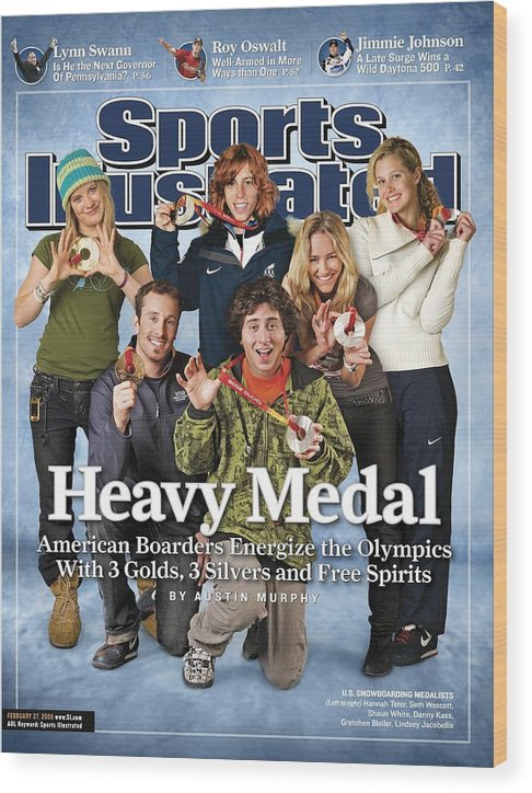 Magazine Cover Wood Print featuring the photograph Us Snowboarding Medalists, 2006 Winter Olympics Sports Illustrated Cover by Sports Illustrated