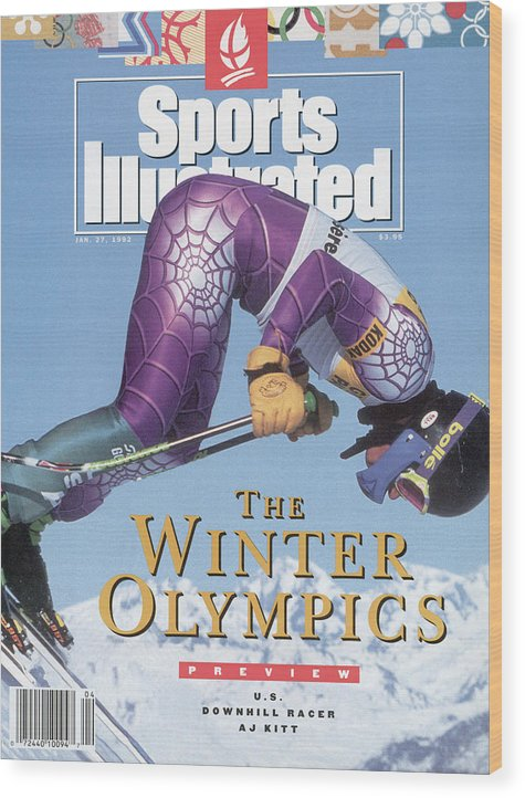 Magazine Cover Wood Print featuring the photograph Usa A.j. Kitt, 1992 Albertville Olympic Games Preview Issue Sports Illustrated Cover by Sports Illustrated