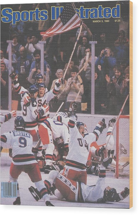 Magazine Cover Wood Print featuring the photograph Usa Hockey, 1980 Winter Olympics Sports Illustrated Cover by Sports Illustrated