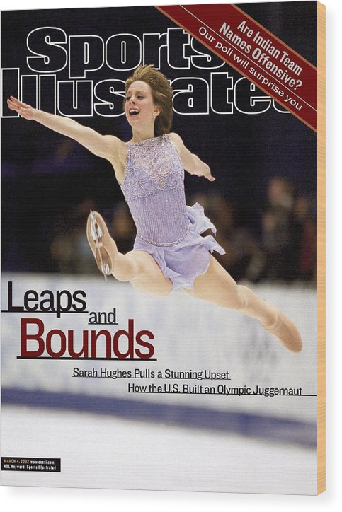 Event Wood Print featuring the photograph Usa Sarah Hughes, 2002 Winter Olympics Sports Illustrated Cover by Sports Illustrated