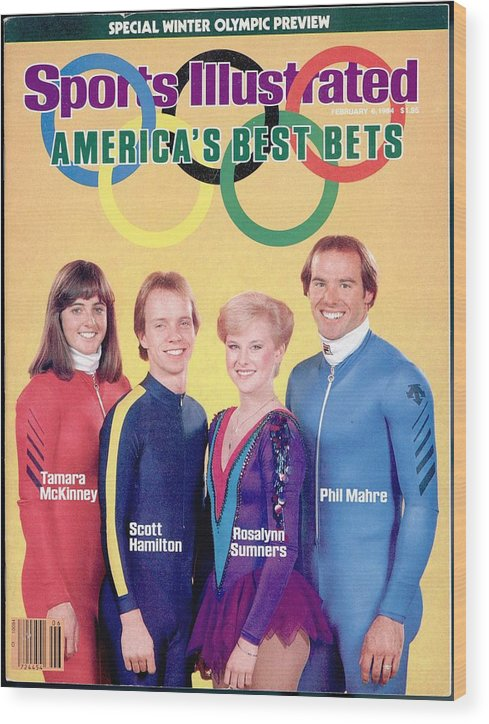 Skiing Wood Print featuring the photograph Usa Tamara Mckinney, Scott Hamilton, Rosalynn Sumners, And Sports Illustrated Cover by Sports Illustrated